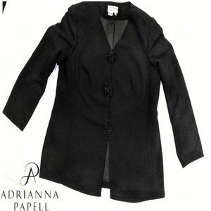 Adrianna Papell black dress coat/sequin buttons